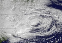 Satellite image of Superstorm Sandy shortly before landfall